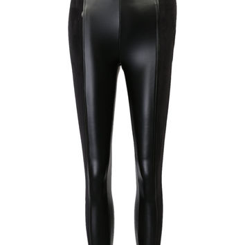 Black Leather Pants With Stretch Panel