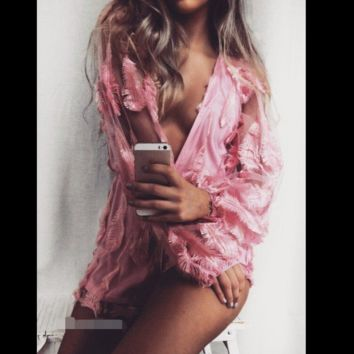 Deep v-neck long-sleeve embroidered jumpsuits pink feathers