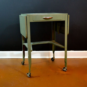 Vintage Green Metal Rolling Industrial Table with Two Drop Down Leaves, Pull Out Drawer and Lower Shelf, Retro Furnishings, Metal Cart