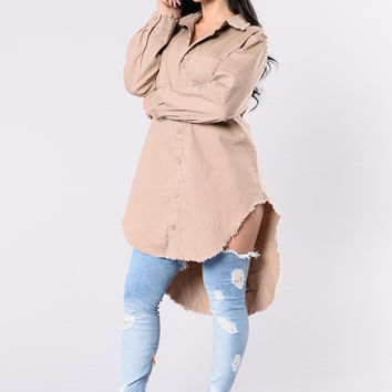 Denim Haze Tunic - Khaki