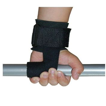 Wrist Support Training Weight Lifting Straps Pair Hand Bar (Black)