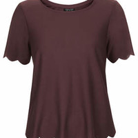Scallop Frill Tee - Berry Red