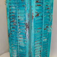 Shabby chic distressed shutter wooden aqua blue mix calypso hand painted table wall decor Anita Spero