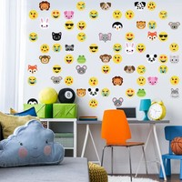 30 Animal Emoji plus 36 Emoji Fabric Wall Decals
