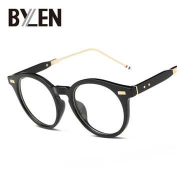 BYLEN Fashion Cat Eye Glasses Frame Women Brand Designer Round Vintage Eye Glasses Men Plain Eyeglasses Frame Clear Lens Eyewear
