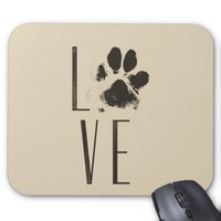Love Pet Paw Print Brown Grunge Typography Mouse Pad