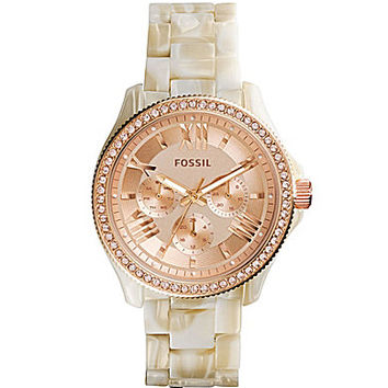 Fossil Ladies Cecile Shimmer Horn Acetate Watch - Horn