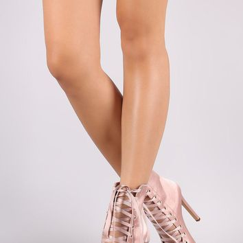 Liliana Satin Peep Toe Lace Up Stiletto Ankle Boots