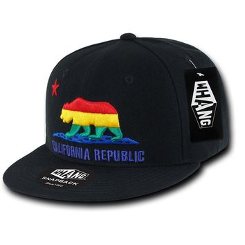 California Republic Rainbow Cali State Bear Flag Snapback Hat by Whang