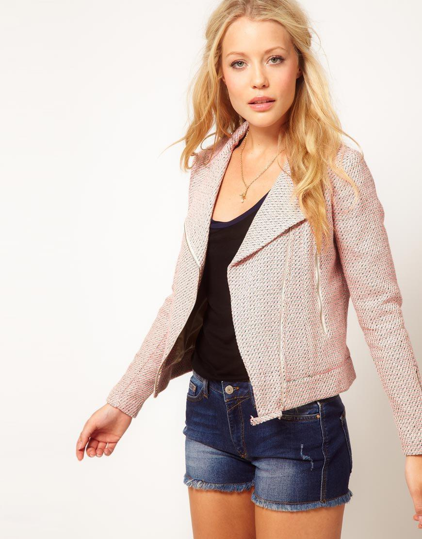 Mango Tweed Biker Jacket at asos.com