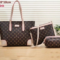 LV Tide brand large-capacity female shopping bag shoulder bag Messenger bag three-piece