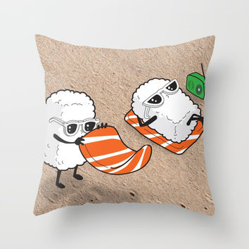 Sushi-sun Throw Pillow by aleibanez