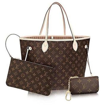 Louis Vuitton LV Women Shopping Leather Tote Handbag Shoulder Bag Wallet Clutch Bag Wristlet Set Two-Piece Key Pouch