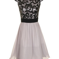 LITTLE MISTRESS - Grey + black lace prom dress