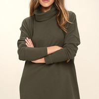 Scheme of Things Olive Green Long Sleeve Dress