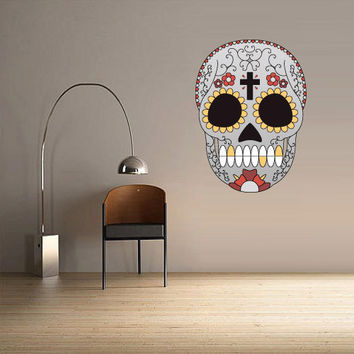 Full Color Wall Decal Mural Sticker Decor Art Beautyfull Cute Sugar Skull Bedroom Curly modern fashion (col588)