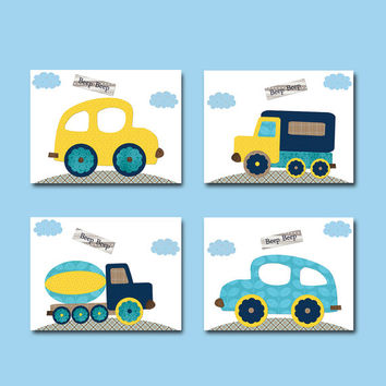 Car Wall Decor Car Wall Art Baby Wall Decor Baby Boy Nursery Decor Children Art Print Baby Nursery Print set of 4 Gray Blue Navy Yellow