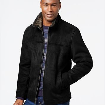 Nautica Mens Big & Tall Faux-Shearling Zip Jacket