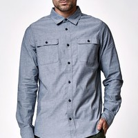 Nike SB Chambray Long Sleeve Button Up Shirt - Mens Shirts - Blue