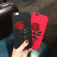 Retro Rose Flower Embroidered Leather Iphone 7  7 Plus Cover Case