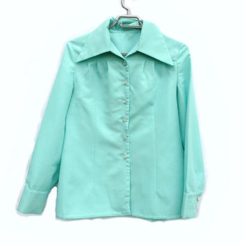 Simple elegant Tiffany blue women blouse Button up Women classic shirt turquoise blouse Unique handmade vintage Women button down shirt