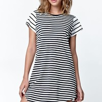 Rusty Tour Stripe T-Shirt Dress - Womens Dress - Cream