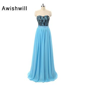 Fast Shipping Prom Dress Plus Size Chiffon Strapless Floor Length Long Evening Gowns Blue Color Formal Party Dress