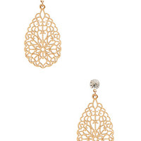 FOREVER 21 Filigree Drop Earrings Gold/Clear One
