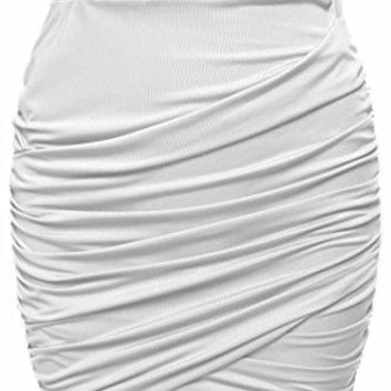 Women's Short Skirts Wrap Ruched Stretch Draped Mini Pleated Bodycon Pencil Skirt