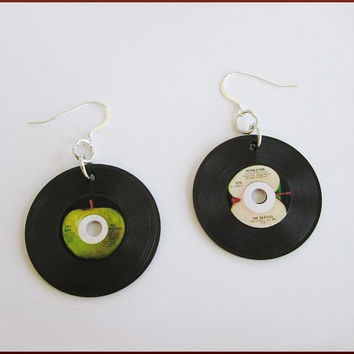Miniature 45 Record Earrings Rock n Roll Vintage Look - Sterling Silver Pierced - 2 Sided Earrings