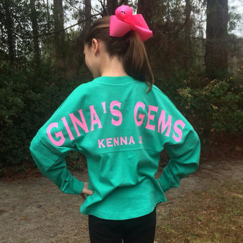 Custom Spirit Jersey, Monogrammed Spirit Jersey, Sorority, Team, School, Group, Business, Oversized long sleeve t shirt