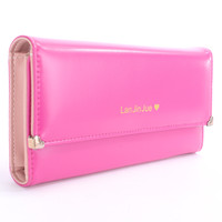 Magenta Faux Leather Cute Wallet Clutch