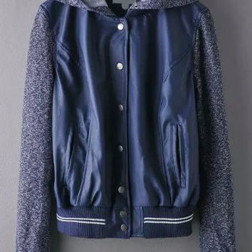 Blue Hooded Buttons Striped Jacket with Pocket