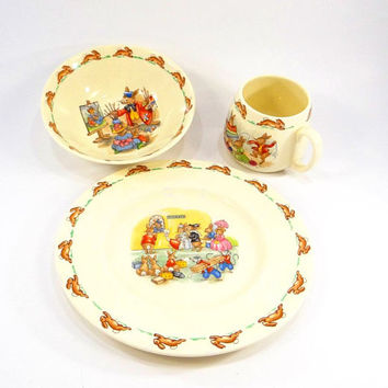 Vintage Bunnykins Fine Bone China 3 Piece Children's Dinnerware Set by Royal Doulton