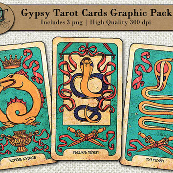 Gypsy Tarot Cards Graphic Design Pack | 3 png images w/ transparent background, high resolution 300 dpi