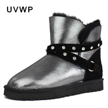New Genuine Sheepskin Leather Snow Boots for Women 100% Natural Fur Real Wool Inside Women Winter Warm Boots Fashion Ankle Boots