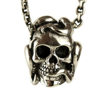 Octopus Tentacle Anatomic Human Skull Necklace Jewelry Antique Silver Bronze Pendant Gothic Steampunk - FPE011 YB/WB/SS