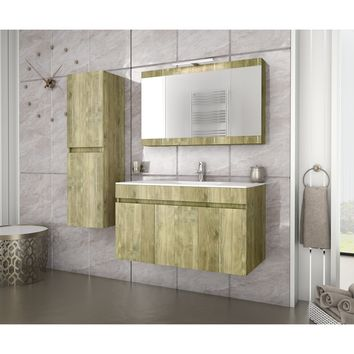 DP Wall Gold Oak Bathroom Vanity Cabinet Set Single Sink With Mirror Unit (36 in. / 40 in.)