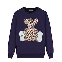 Burberry Popular Couple Casual Bear Print Long Sleeve Sweater Sweatshirt Navy Blue