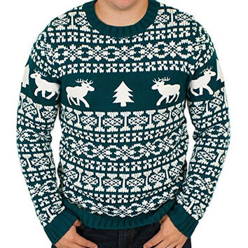 Ugly Christmas Sweater - Holiday Reindeer Men's Sweater in Green (XX-Large) By Festified
