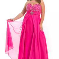 Affordable Beaded Sweetheart Neckline Chiffon Brush Train Plus Size Prom Dresses / Homecoming Dresses party time 6274 - Missyprom.com