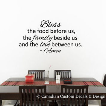 Bless the food before us... - Vinyl Wall Decal - Home Decor - Wall Art - Personalize - Dining Room - Kitchen - Faith - Amen - Family - Love