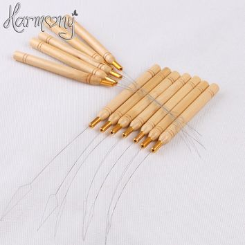 50 Pcs stainless steel Pulling nano Loop Threader Beads Loader For Bamboo Handle Nano Micro Ring Tip hair extensions tool