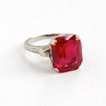Antique 20k White Gold Art Deco Created Ruby Ring - Vintage Size 6 3/4 1920s 1930s Pink Stone Emerald Cut Fine Jewelry