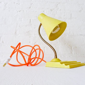 30% SALE Retro Yellow Vintage Desk Table Lamp Citrus Light Neon Orange Textile Cord