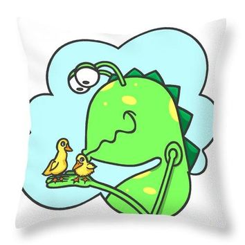 Monster Kissing Ducklings - Throw Pillow