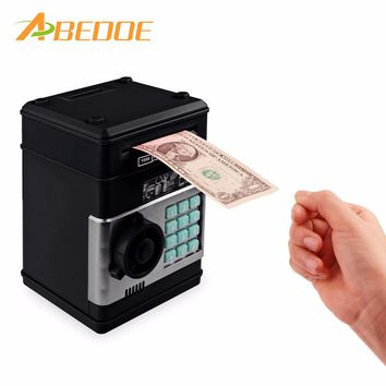 ABEDOE Kids Electronic Money Safe Box Password Saving Bank ATM for Coins and Bills cash Code Key Case system Money Saving box