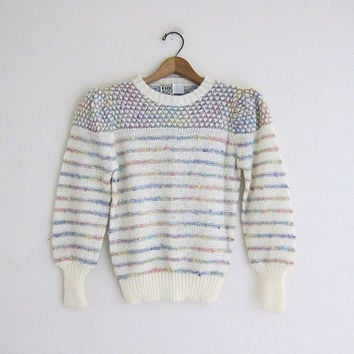 vintage white sweater // popcorn knit sweater // women's size S