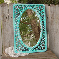 Shabby Chic Mirror, Tiffany Blue, White, Upcycled Vintage, Ornate, Syroco, Wicker, Beach Decor, Wedding Decor, Homco