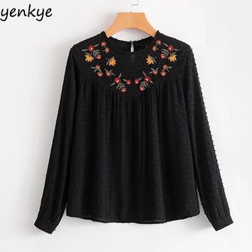 Floral Embroidered Womens Blouses Casual Long Sleeve O Neck Frill Peplum Top Chiffon Shirt Top